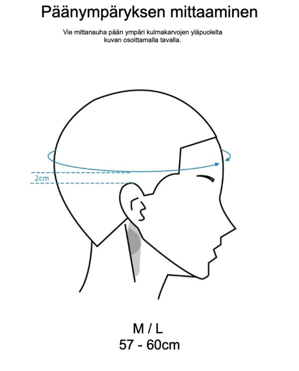 Himo kypärien päänympäryksen mittaaminen